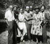 Bobi Bazlen, Paola Olivetti, Flavia and Giovanni, Eugenio Montale, Elsa Morante and a friend