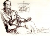 ritratto di Colacicchi disegnato da Renato Guttuso
