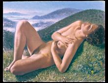 Nuda con paesaggio di fantasia