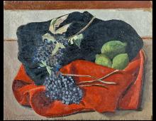 Natura Morta con uva su panno rosso