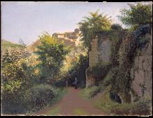 Anagni sotto le mura di Piscina con due figure