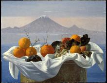 Frutta davanti al vulcano